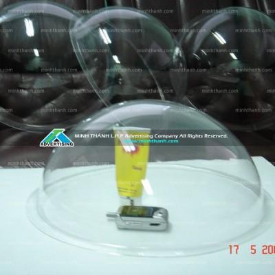 Bán cầu tròn 3D mica ép nổi