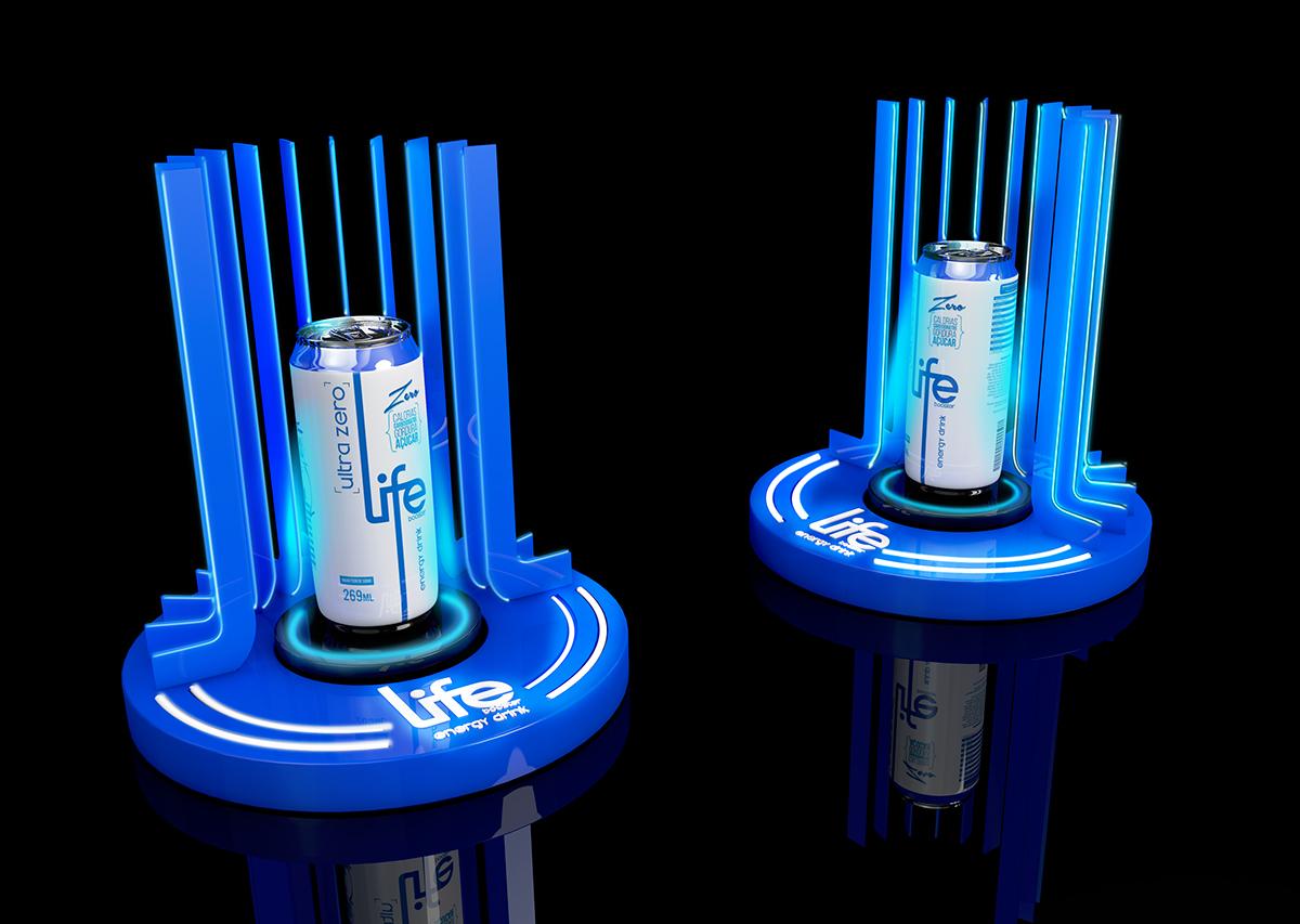 POSM trưng bày sản phẩm nước tăng lực LIFE