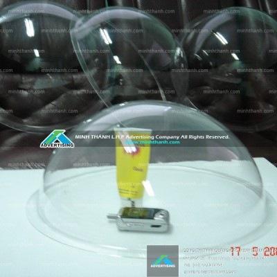 Bán cầu tròn 3D ép mica