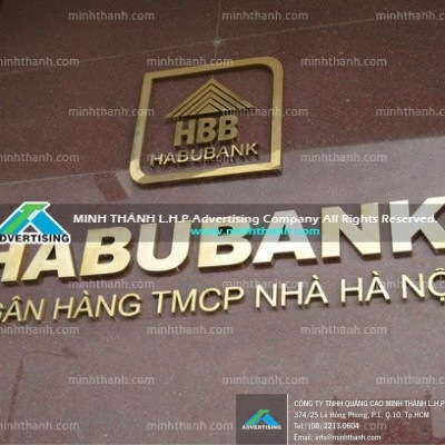HABUBANK golden stainless steel dimensional letters