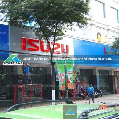 Isuzu aluminum showroom Signboard and facade