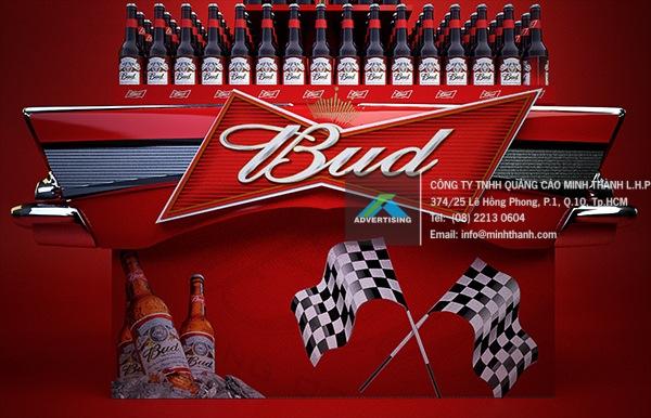 mô hình POSM bia Budweiser - Quảng cáo Minh Thành L.H.P
