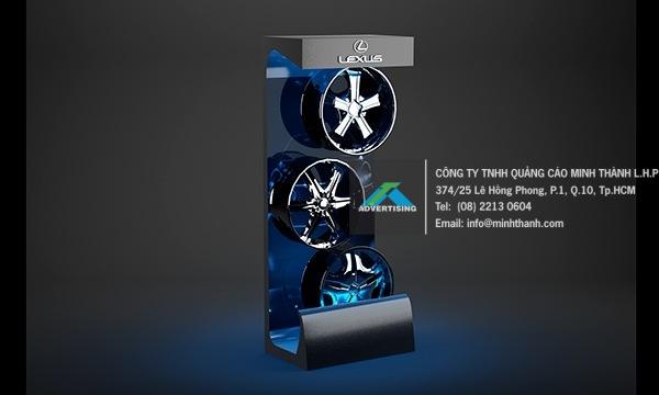 Kệ trưng bày mâm xe Lexus - Quảng cáo Minh Thành L.H.P