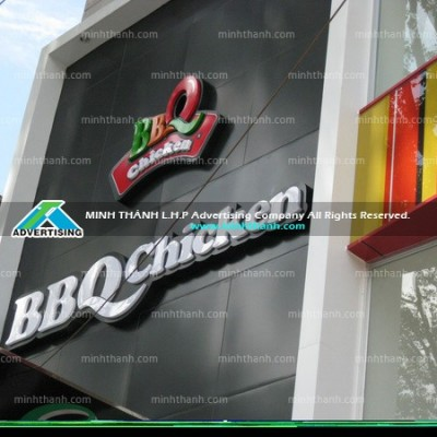 Mica signboard and BBQ Chickens alu facade