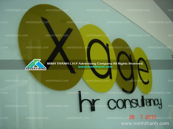 Company name tempered glass signage
