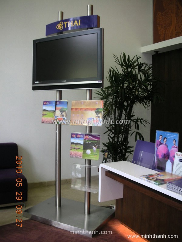 Produce TV stainless steel plinth attach brochure shelf