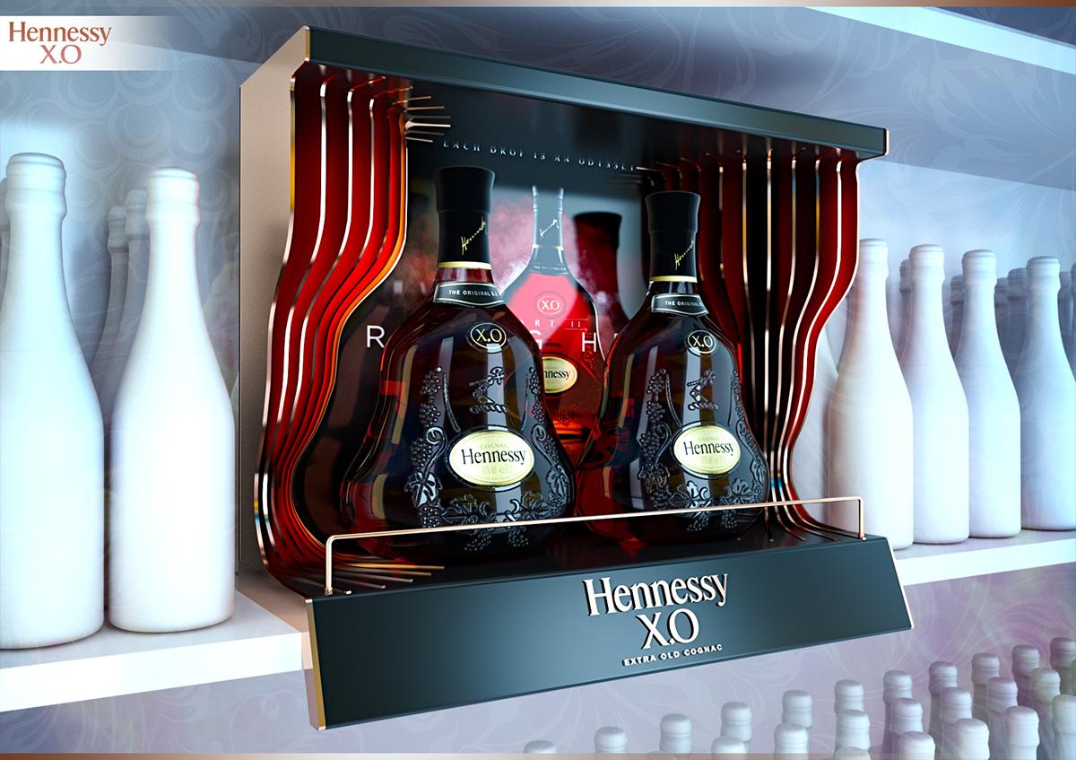 Kệ tủ trưng bày rượu Hennessy