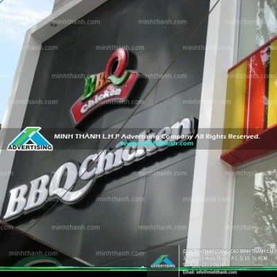 Acrylic signboard and BBQ Chickens alu facade