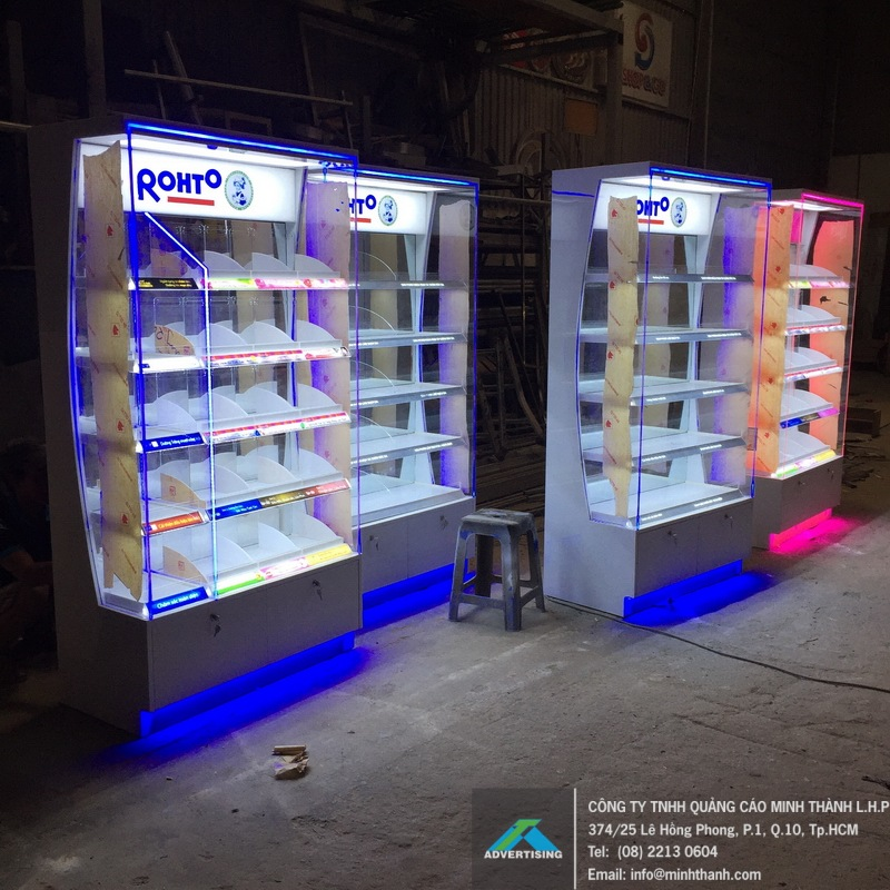 Sản xuất đầu kệ siêu thị Rohto