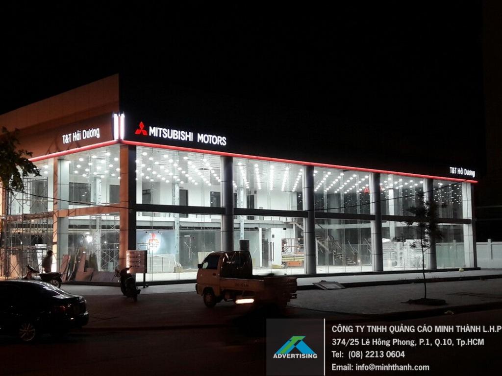 Sản xuất thi công bảng hiệu Alu cao cấp Mitsubishi Motors Hải Dương