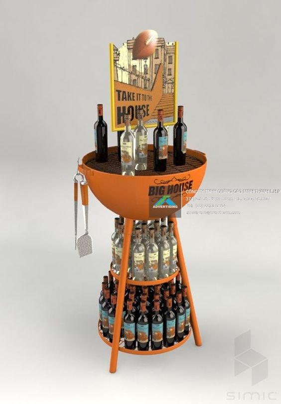 Mẫu Kệ siêu thị trưng bày Rượu